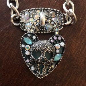 Betsy Johnson skull lock and key necklace